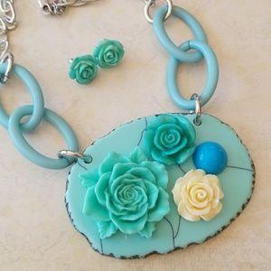 Vintage Roses Rockabilly Teal Roses Necklace Set
